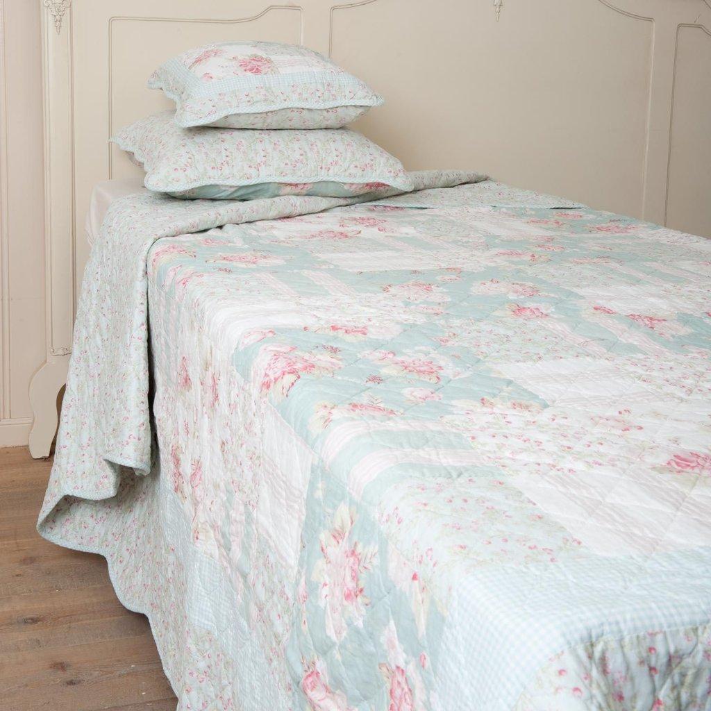 clayre eef tagesdecke hellblau mit pinken blumen ebay. Black Bedroom Furniture Sets. Home Design Ideas