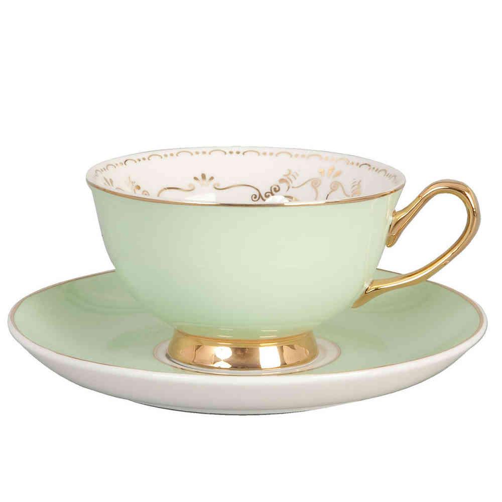 Clayre & Eef Kaffeetasse mit Untertasse mintfarben mint goldfarben ...